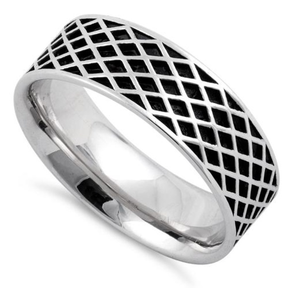 Other - Sterling Silver Diamond Line Pattern Wedding Ring